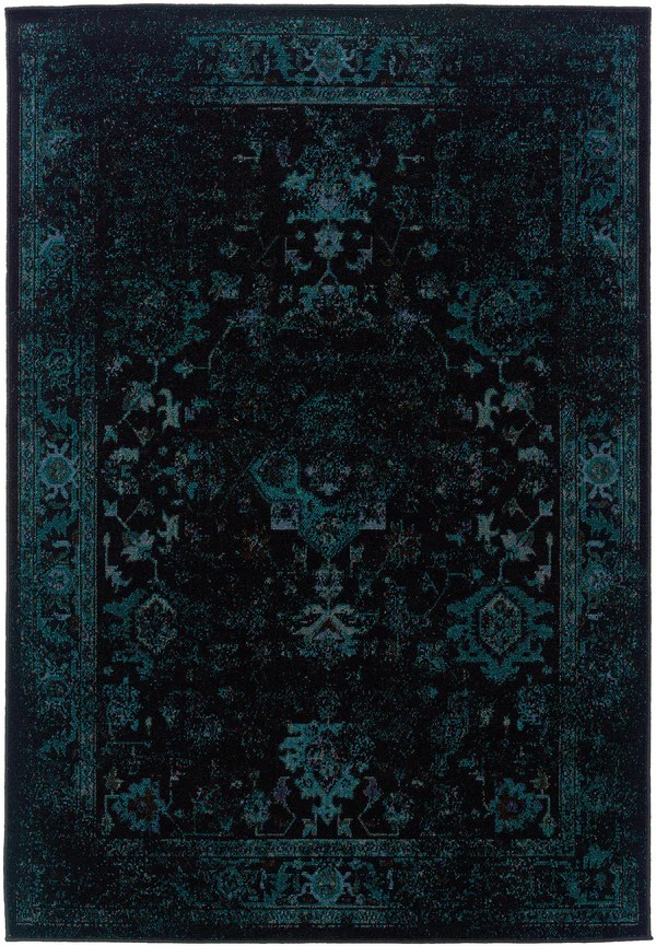 Dark Teal Blue And Black Worn Overdyed Rug Woodwaves