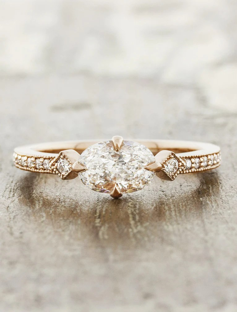 Charleen Horizontal Oval Ring In Rose Gold Ken Amp Dana Design