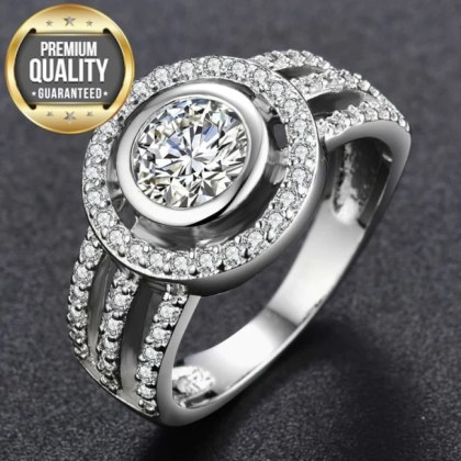 Women s White Gold Color Wedding Rings Round AAA Zircon Engagement     Hover to zoom
