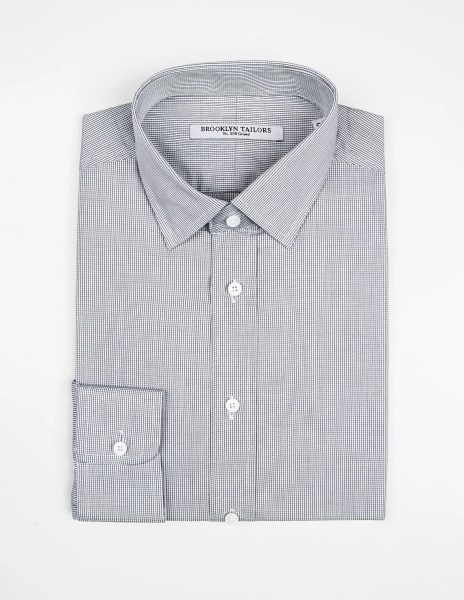 BROOKLYN TAILORS   Micro Grid Dress Shirt in White Black