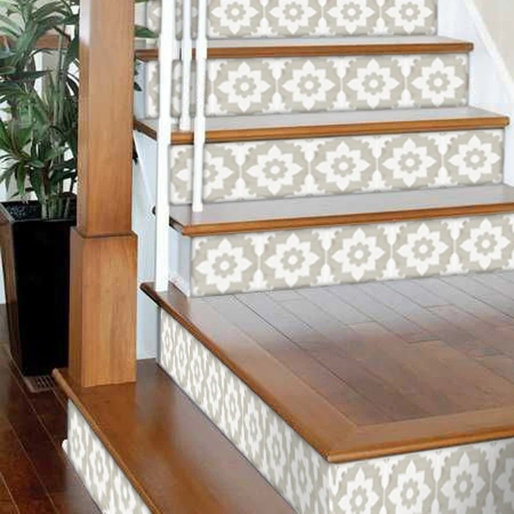 Stair Riser Stickers Stair Riser Tile Decals Campagne Sand 6 | Wood Stairs With Tile Risers | Color Scheme | Creative | Stair Outdoors | Grey | Tile Residential