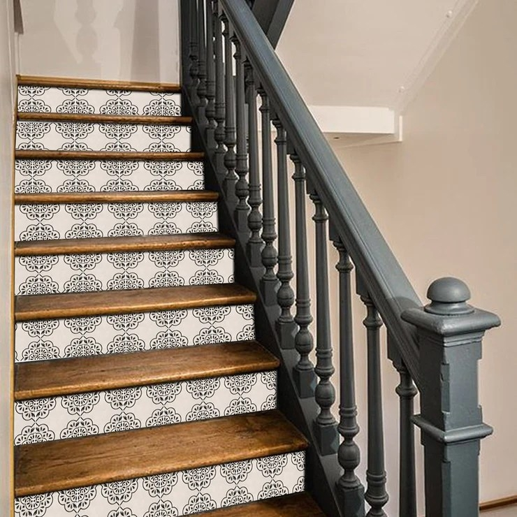 Stair Riser Stickers Stair Riser Tile Decals Hamra In Beige   Best Wood For Stair Risers   Hardwood Flooring   Paint   Stair Tread   Spindles   Wooden Stairs
