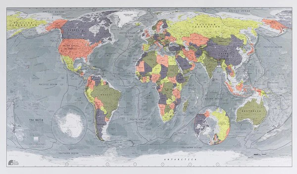 World Classic Map  Version 2  1300 x 720mm Laminated