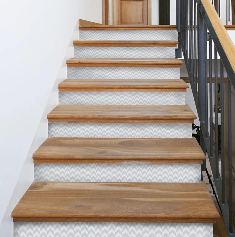 Herringbone Stair Riser Decals – Mirth Studio   Best Wood For Stair Risers   Hardwood Flooring   Paint   Stair Tread   Spindles   Wooden Stairs