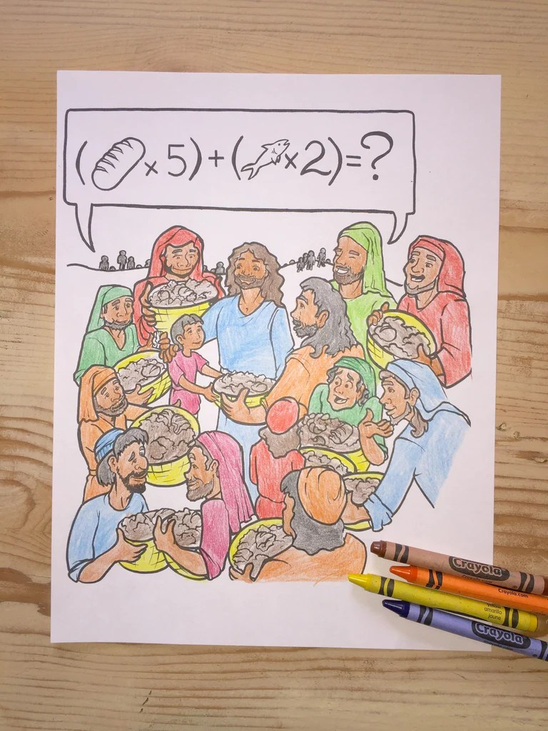 Free Coloring Pages Download Jesus Feeds 5000 Page Childrens Ministry Deals Of