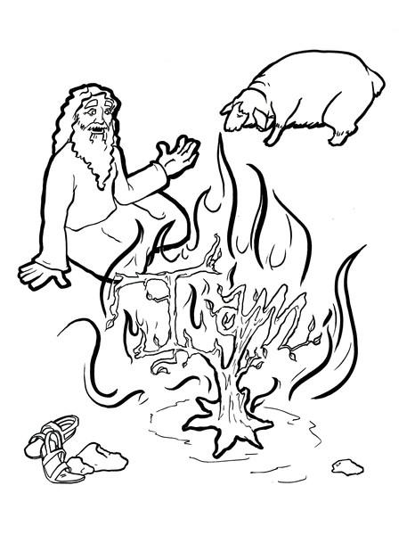 burning bush coloring page # 1