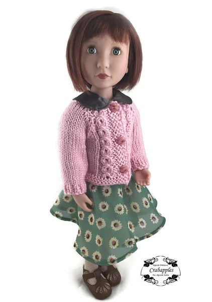 Crabapples Eyelet Cable Cardigan Doll Clothes Knitting