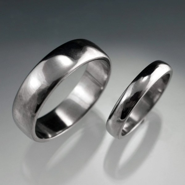 Simple Domed Wedding Bands  Set of 2 Wedding Rings
