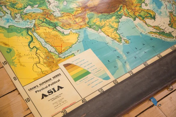 Vintage Cram s Pull Down Map of Asia    Old New House    Maps    3301     Cram s Political Series Physical Political large pull down map of Asia