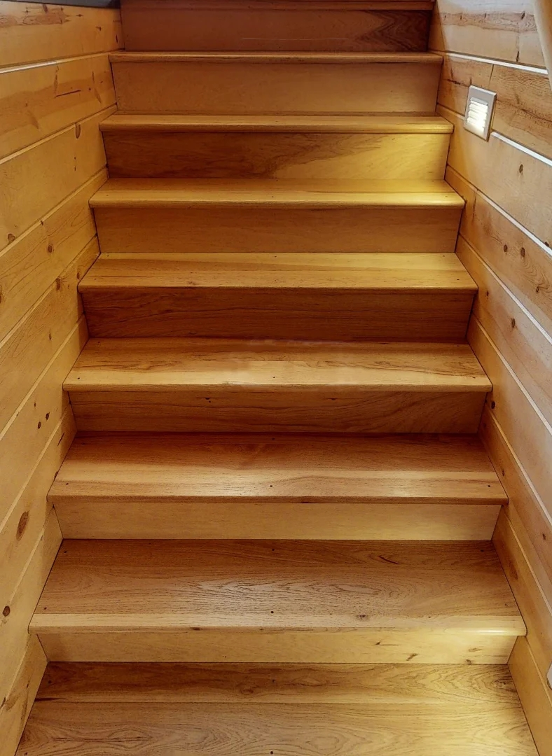 Hickory Stair Treads Premium Unfinished – Log Home Mart | Rustic Wood Stair Treads | Indoor Stair | Wood Plank | Interior | Reclaimed Wood | Carpet