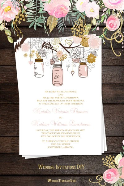 Bridal Shower Invitations Pink And Gold