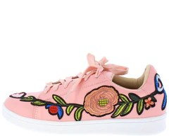 Fashion Shoes  10 Wholesale Fashion Shoes Luna175 Pink Pu Detail Stitch Lace up Casual Flat   Wholesale Fashion Shoes