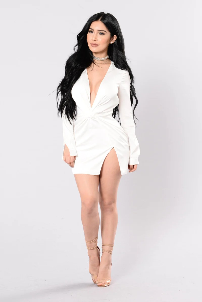 Kylie Fashion Collection   Shop the Sexy Look From Our Kylie Style Sugar Free Dress   White