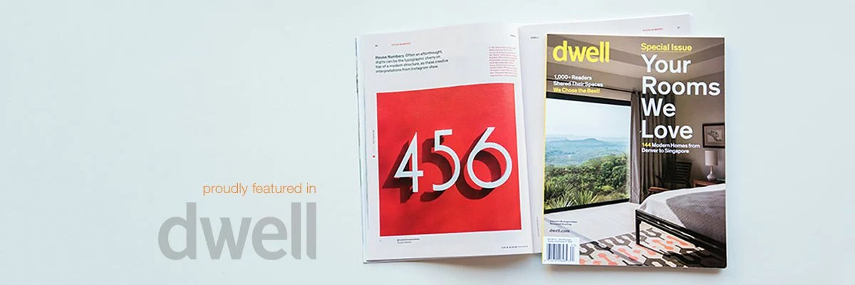 Modern address numbers  letters  plaques and mailbox numbers     as seen in Dwell magazine