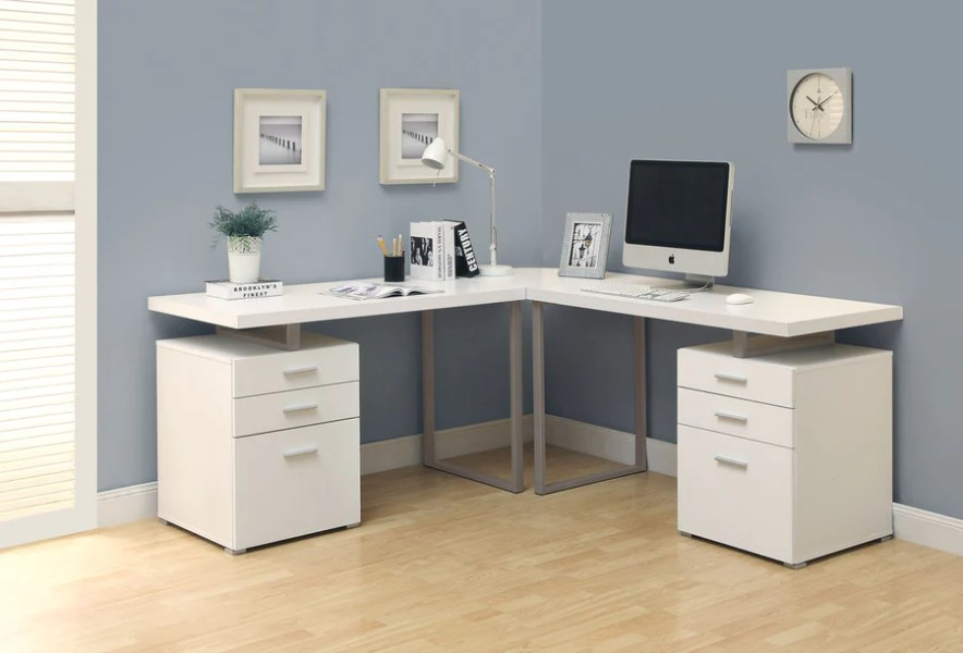 L Shaped Desks for Home   Office   OfficeDesk com L Shaped Double Pedestal White Office Desk with Floating Top