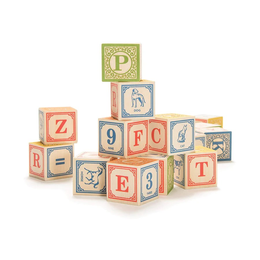 Classic Wooden Alphabet Blocks With Canvas Bag Oompa Toys
