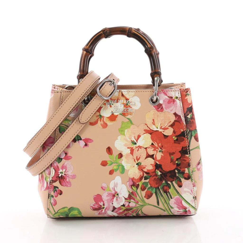 c93a33bb78de7 Buy Gucci Bamboo Shopper Tote Blooms Print Leather Mini Pink 3563001