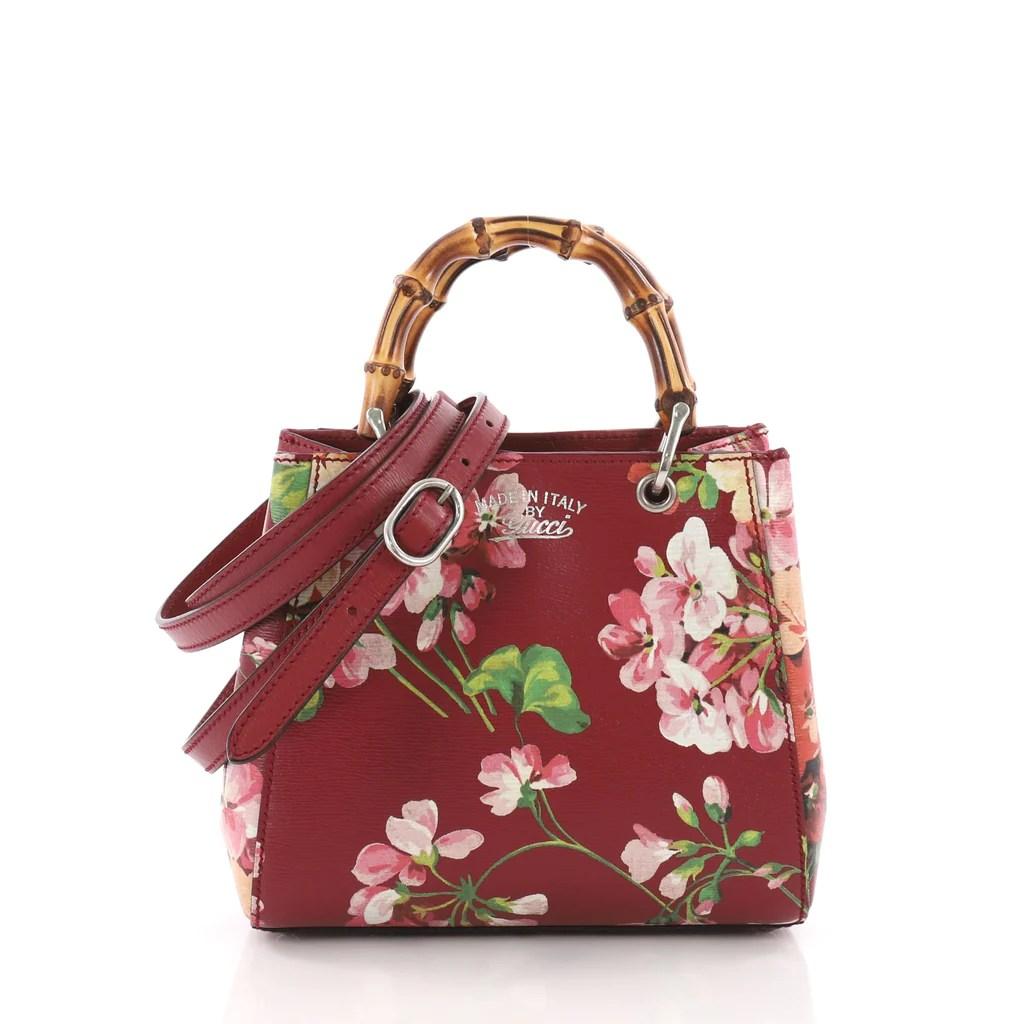 a51e8cd48751e Buy Gucci Bamboo Shopper Tote Blooms Print Leather Mini Red 3631401