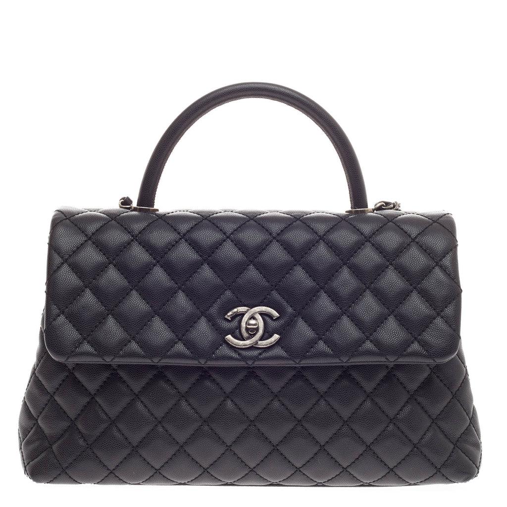 Buy Chanel Coco Top Handle Bag Quilted Caviar Medium Black ...