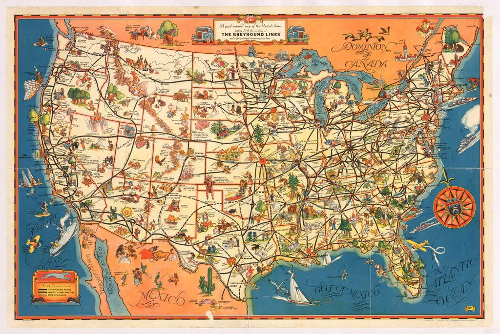Antique Pictorial Map of U S  for the Greyhound Bus Lines  hjbmaps     1934 A Good Natured map of the United States Setting Forth the Services of  the Greyhound Lines