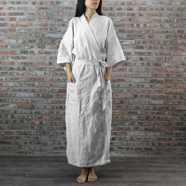 Full Length Linen Bathrobes By Linenshed Kimono Style