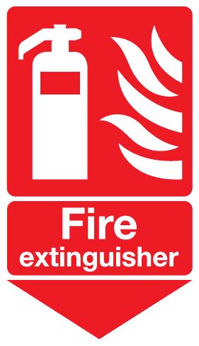 Fire Extinguisher below sign