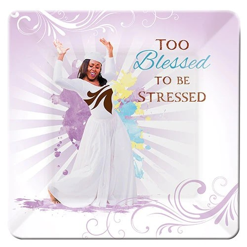 Too Blessed To Be Stressed Glass Plate It S A Black