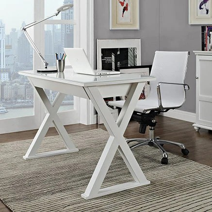 48 Quot Modern White Steel X Frame Desk With Drawer Amp Glass