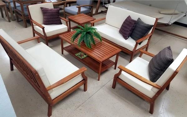 6 Piece Indoor Outdoor Solid Wood Patio Furniture Set