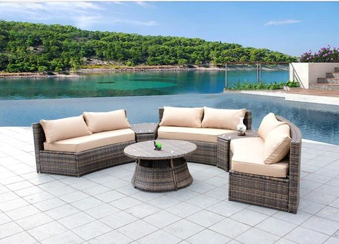 Sunbrella Curved Wicker Rattan Patio Furniture Set with Coffee Table     Sunbrella Curved Wicker Rattan Patio Furniture Set with Coffee Table