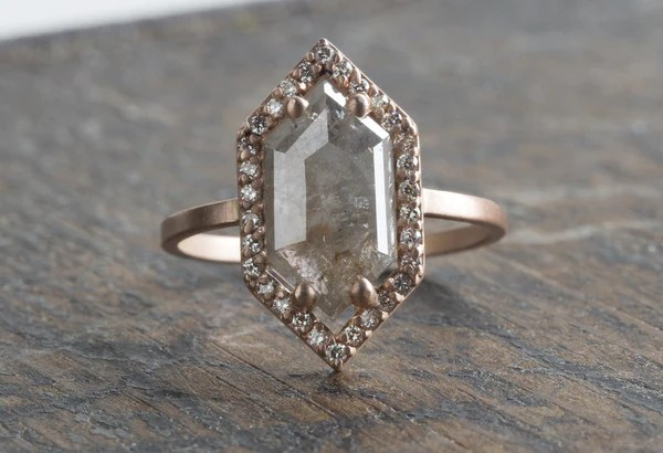 Natural Grey Rose Cut Hexagon Diamond Ring With Pav 233 Halo Alexis Russell