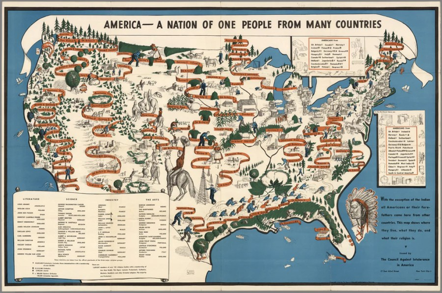 America   A NATION OF ONE PEOPLE FROM MANY COUNTRIES     Mapisart     current hostile administration to revisit this fabulous 1940 map from  the David Rumsey map collection encouraging tolerance  diversity and  immigration