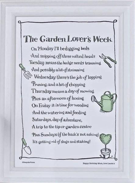 Bespoke Verse The Garden Lovers Week Poem Print Indigo