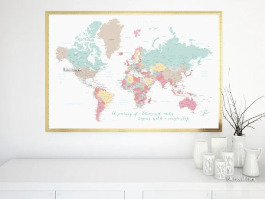 Printable large world map with cities and capitals in pastel colors     Printable large world map with cities and capitals in pastel colors  a  travel of a
