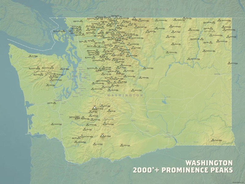 Washington 2000  Prominence Peaks Map 18x24 Poster   Best Maps Ever Washington Prominent Peaks map poster   natural earth