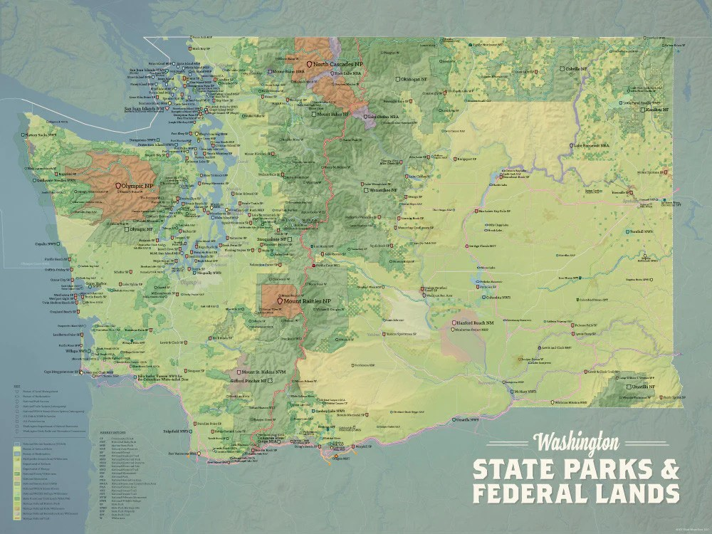 Washington State Parks   Federal Lands Map 18x24 Poster   Best Maps Ever Washington State Parks   Federal Lands Map Poster   natural earth