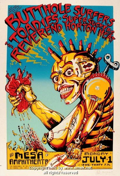 1996 Butthole Surfers Amp Reverend Horton Heat Poster By