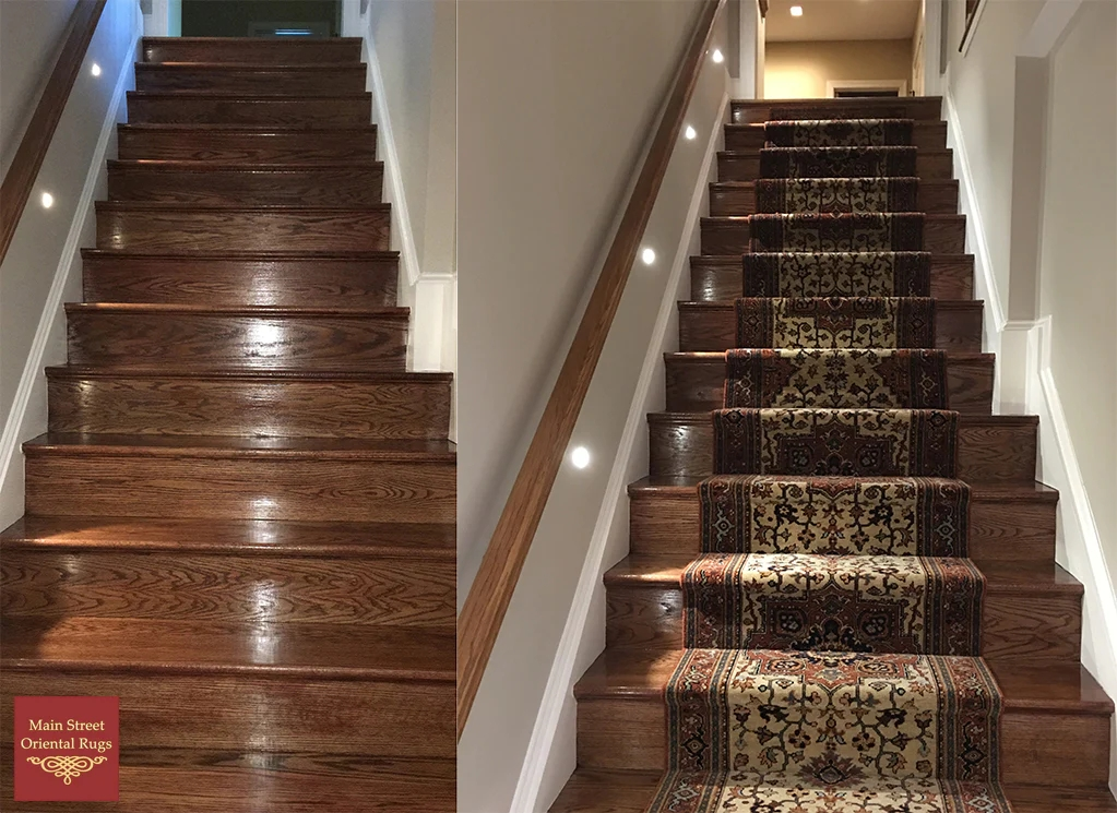Serapi Stair Runner Installation Main Street Oriental Rugs | Rug Runners For Steps | Design | Pattern | Black | Hallway | Animal Print