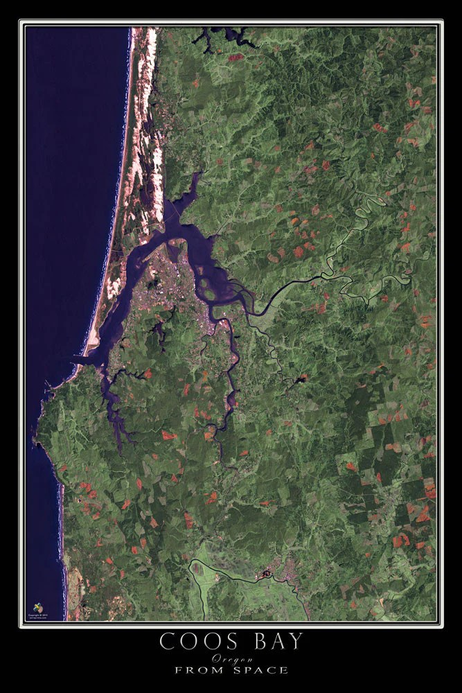 Coos Bay Oregon Satellite Poster Map Aerial Views From Space Satellite Images Satellite Map
