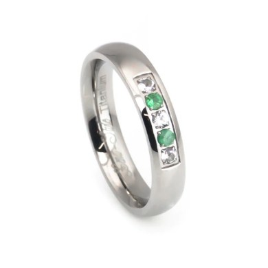 Natural Emerald White Sapphire Women s Titanium Wedding Band     Natural Emerald White Sapphire Women s Titanium Wedding Band     Anniversary  Rings   Wedding Rings