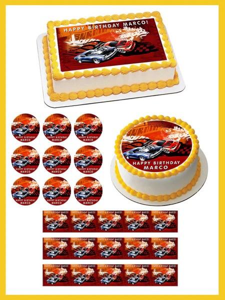 Hot Wheels Edible Birthday Cake Or Cupcake Topper Edible