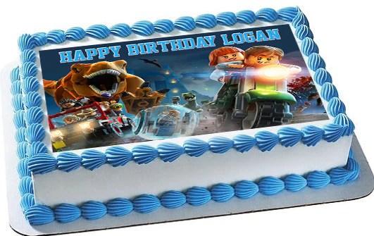 Jurassic World Dinosaur Lego Edible Cake Topper Amp Cupcake