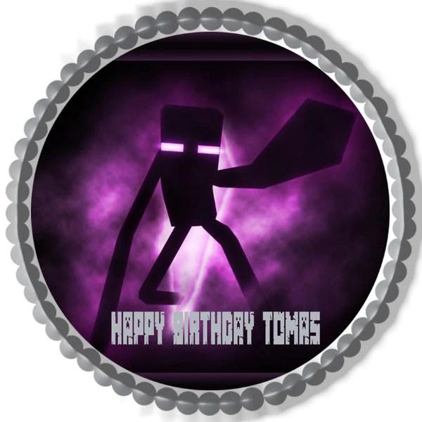 Minecraft Enderman Edible Birthday Cakeorcupcake Topper