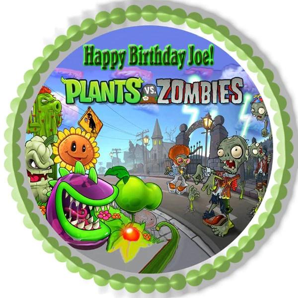 Plants Vs Zombies 1 Edible Birthday Cake Or Cupcake Topper