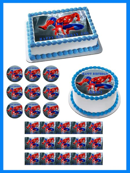 Spiderman 1 Edible Birthday Cake Or Cupcake Topper