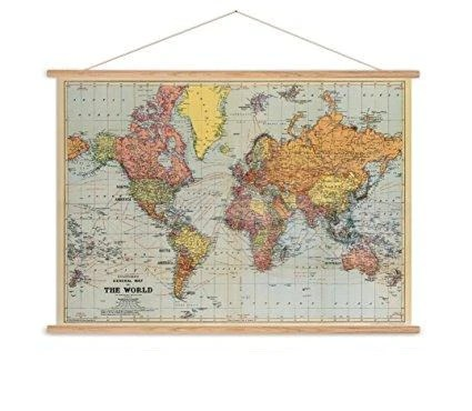 Stanfords world map vintage chart poster print   Six Things Stanfords world map vintage chart poster print