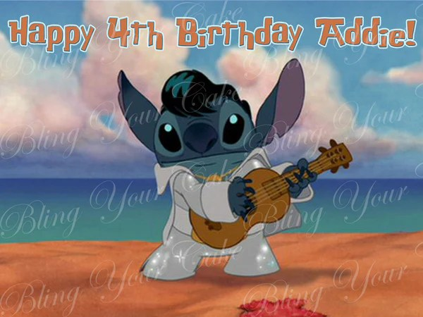 Disney Elvis Stitch Edible Icing Cake Decor Topper Bling