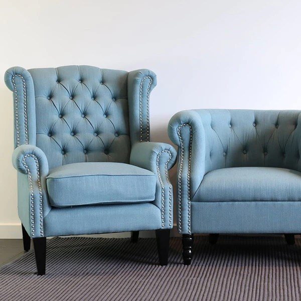 Blue And Grey Accent Chair