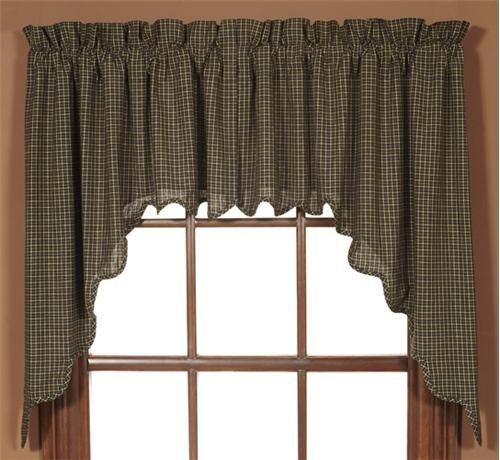 Kettle Grove Scalloped Lined Swag Curtains Primitive
