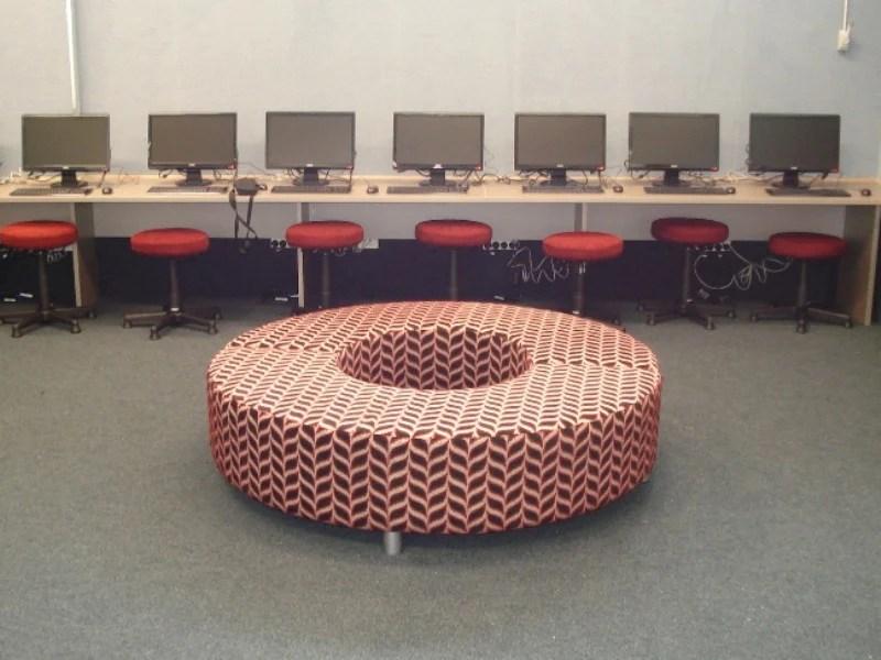 Half Circle Storage Ottoman